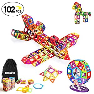 CosyVie Magnetic Blocks Educational Magnetic Building Blocks Tiles Set for Kids/Toddlers Over 3 Years Old 102 Pieces Set (Muticolor)