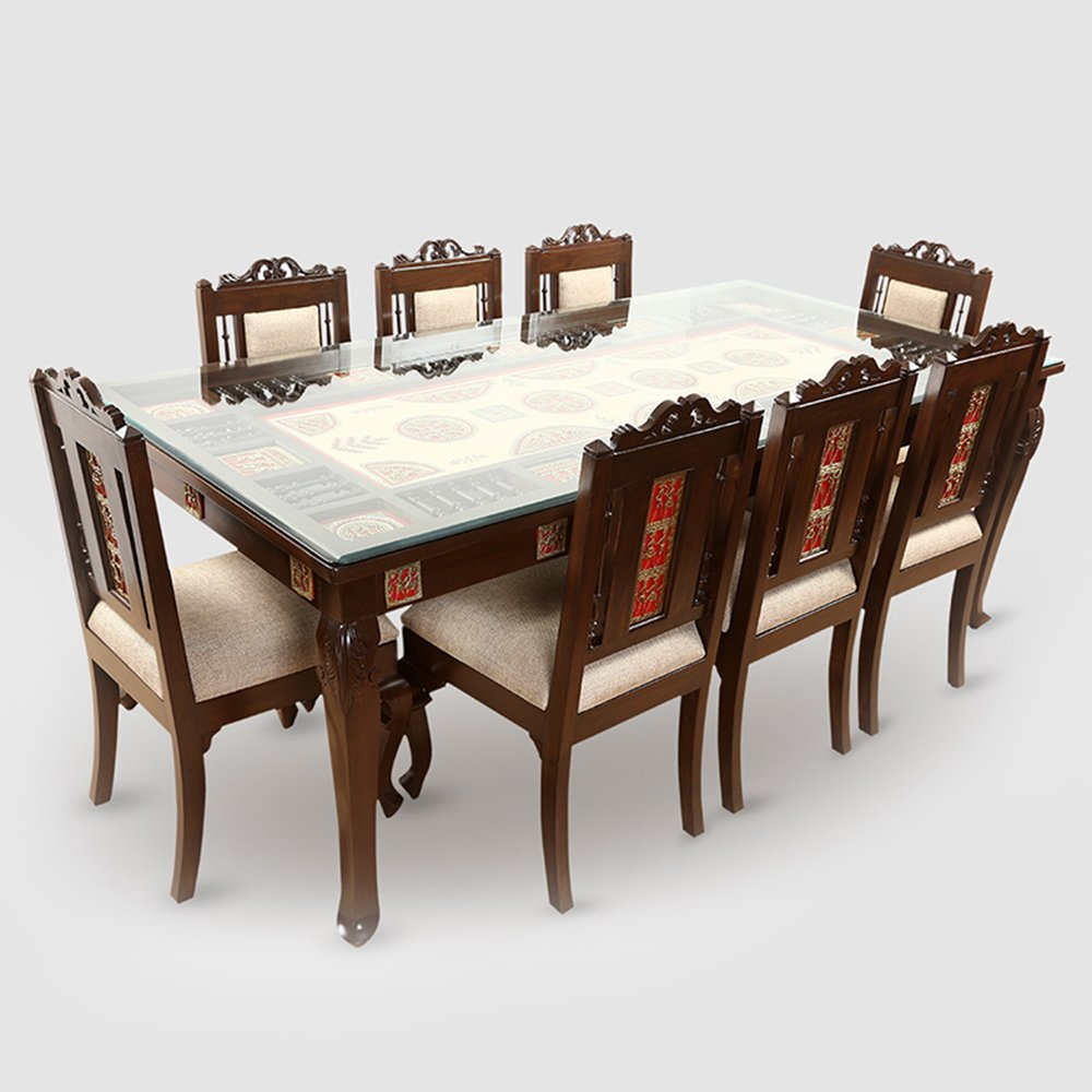Exclusivelane teak wood 8 seater dining table in warli dhokra work amazon in home kitchen