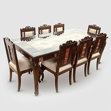 Exclusivelane Teak Wood 8 Seater Dining Table In Warli Dhokra Work