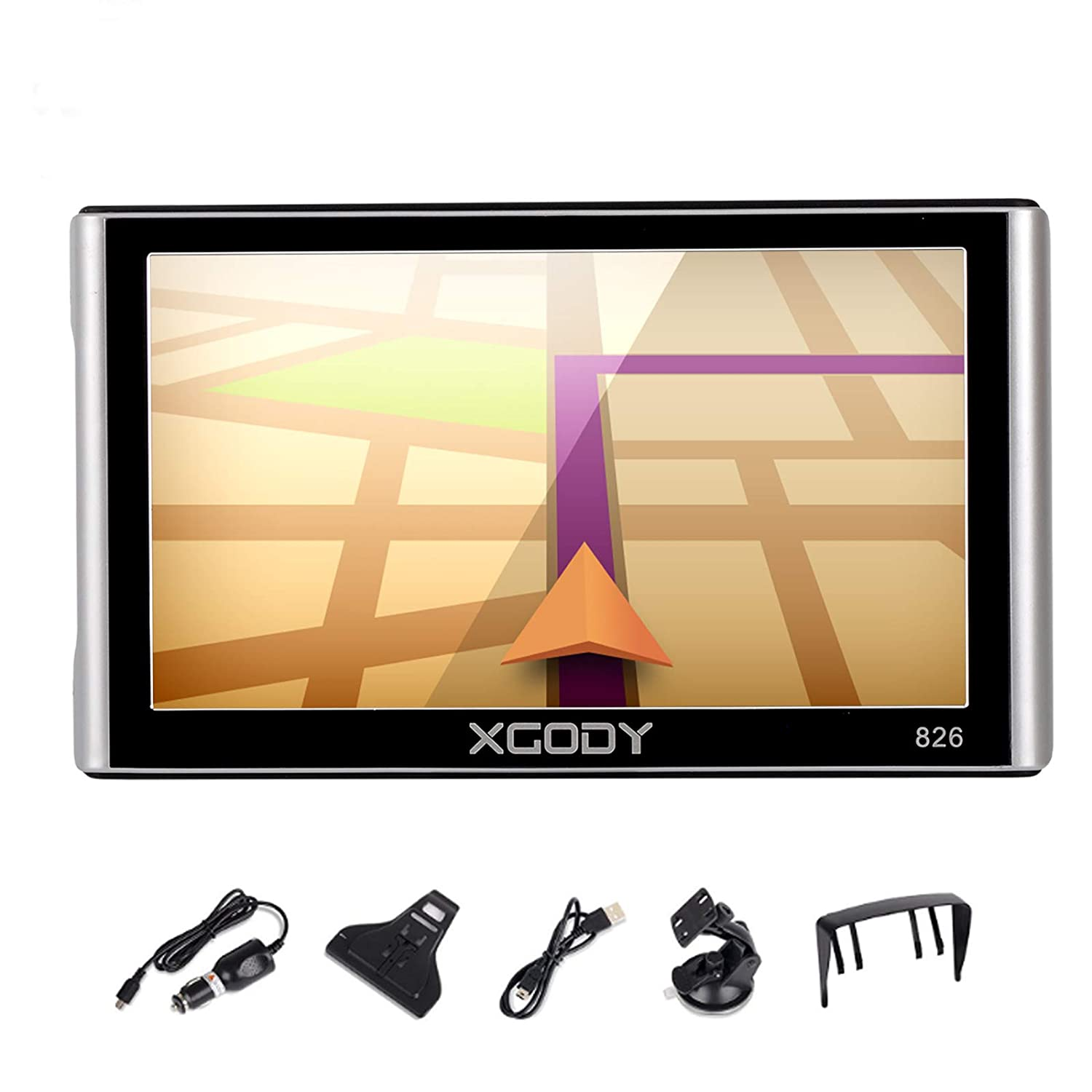 GPS Navigation for Car, Xgody 7 Inch Capacitive Screen 8GB US and Canada Lifetime Maps Update Spoken Turn-to-Turn Truck Vehicle GPS Navigator System for Cars (826BT+YM) Shenzhen Xin Sheng Shang Technology Co. Ltd