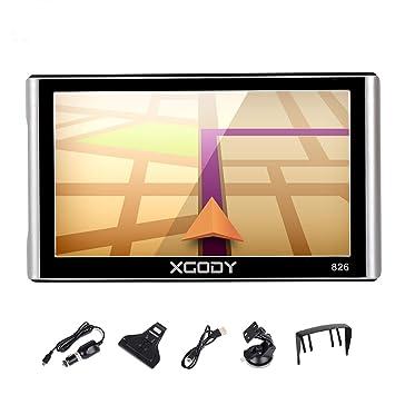 Xgody 826 - Sistema de navegación GPS para camión con Bluetooth para coche, pantalla táctil capacitiva de ...