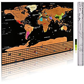 scratch off world map poster personalized travel tracker map with us states country flag
