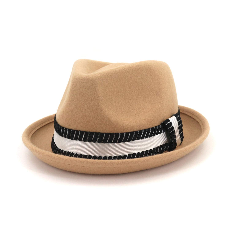 Brown Wool Hat Felt Fedora Winter Hats for Women Elegant Men Gentleman Round Top Cap Vintage Royal Hat