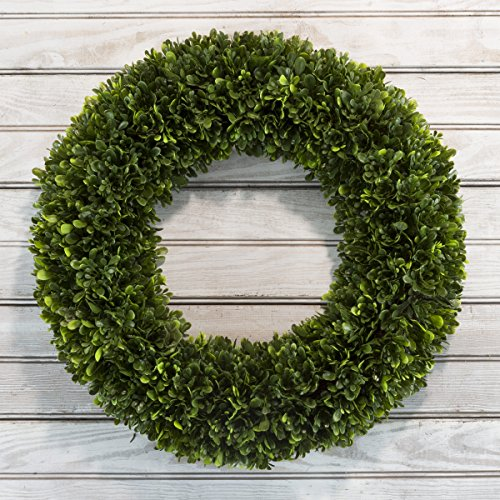 Pure Garden 50-214 Artificial Tea Leaf-UV Resistant Greenery Half Wreath Wall Décor, 19.5