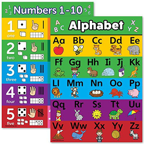 ABC Alphabet & Numbers 1-10 Visual Learning Poster Chart Set - LAMINATED - Double Sided (18 x 24, LAMINATED)]()