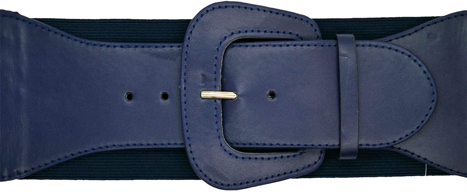 Hell Bunny Rizzo Vintage Retro Wide Elasticated Faux Leather Belt Waist Cincher Blue Small
