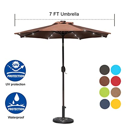 Sundale Outdoor 7 Ft Solar Powered 24 LED Lighted Patio Umbrella Table  Market Umbrella With Crank