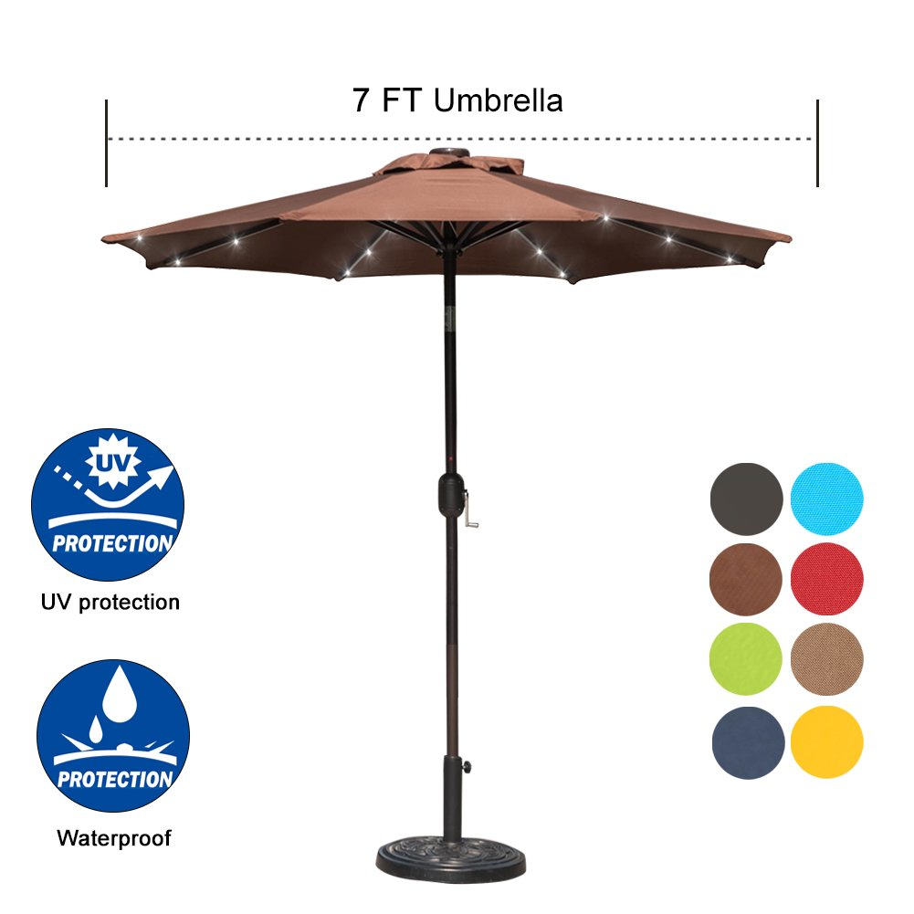 Sundale Outdoor 7 ft Solar Powered 24 LED Lighted Patio Umbrella Table Market Umbrella with Crank and Push Button Tilt for Garden, Deck, Backyard, Pool, 8 Steel Ribs, Polyester Canopy (Coffee)