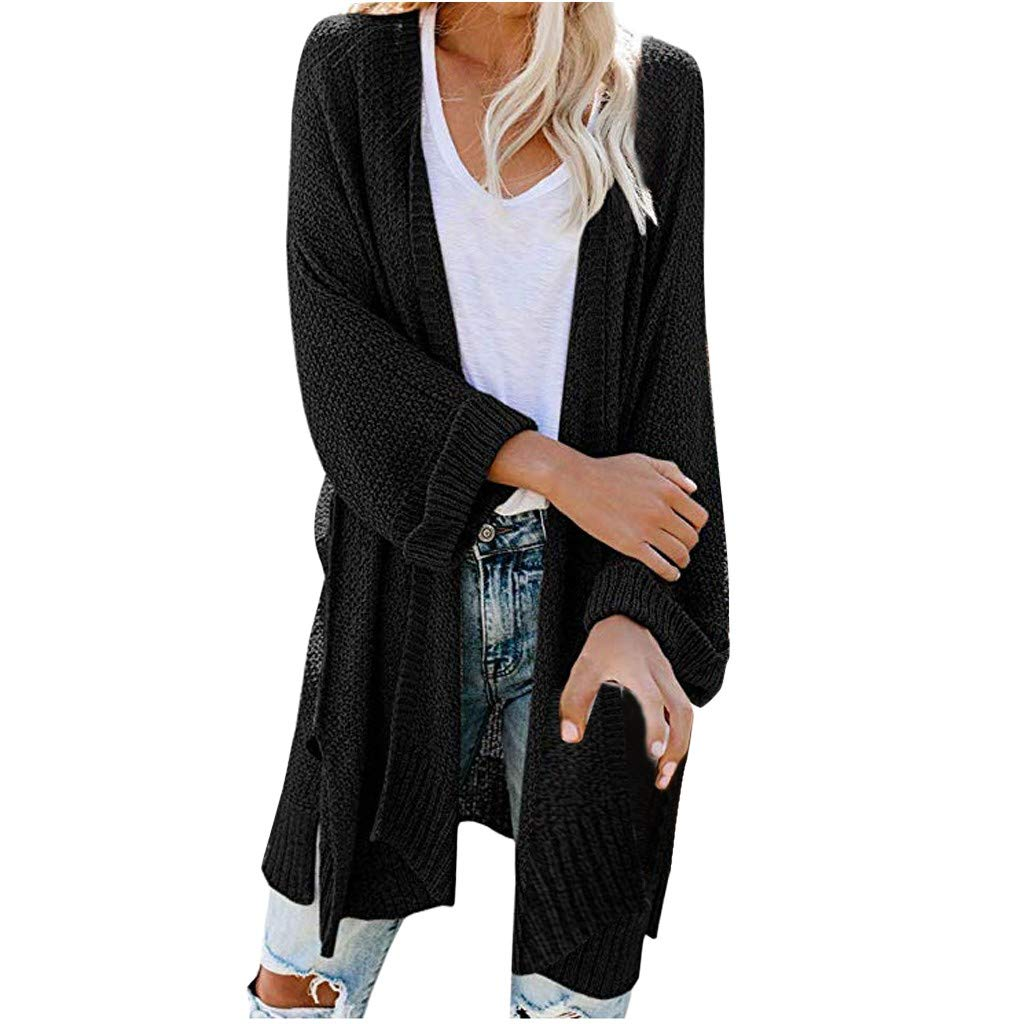 ZOMUSAR Women's Coat, Women's Loose Solid Open Long Sleeve Casual Knitted Outerwear Cardigan Sweater by ZOMUSAR