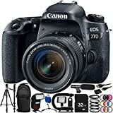 Canon EOS 77D DSLR Camera with 18-55mm Lens 24PC Accessory Bundle – Includes 32GB SD Memory Card + High Speed Card Reader + MORE
