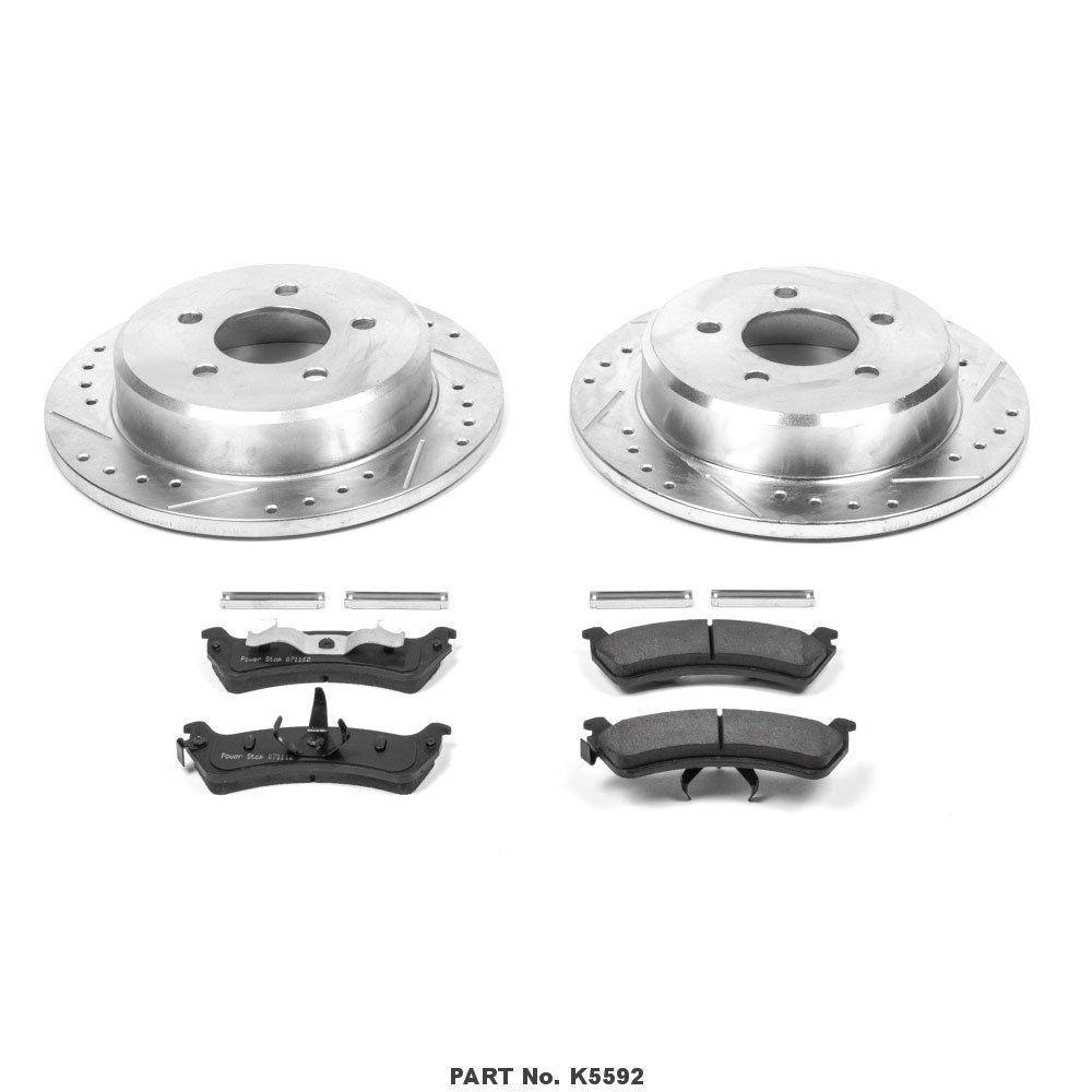 Power Stop K5592 Rear Z23 Evolution Brake Kit with Drilled//Slotted Rotors and Ceramic Brake Pads