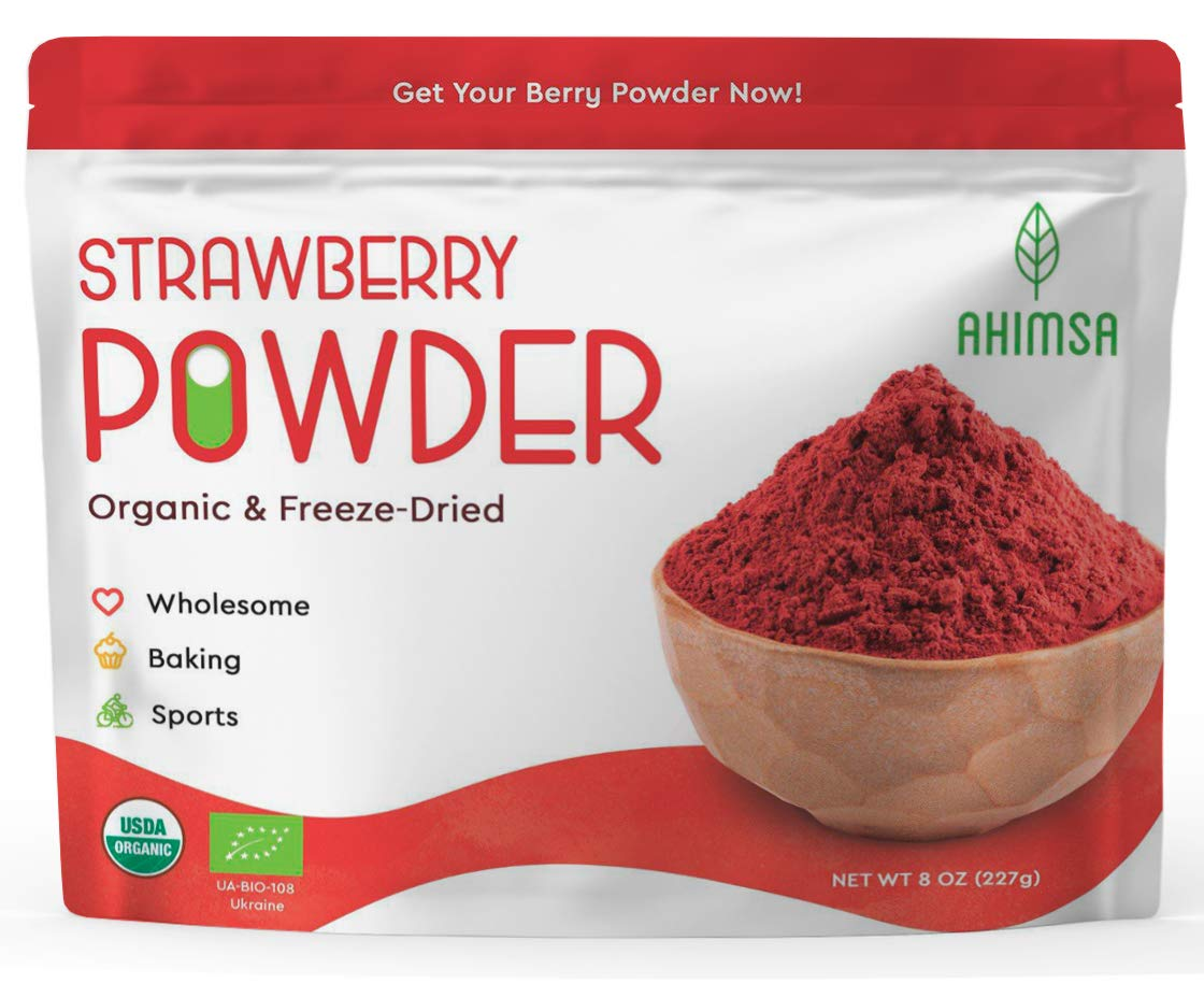 Organic Freeze Dried Strawberry Powder 8 oz | USDA Certified | Vegan Vitamin Food | Natural Organic Fruit Powder