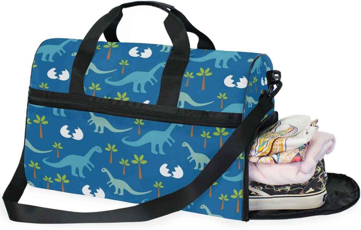 Baby Dinosaurs Sports Gym Bag with Shoes Compartment Travel Duffel Bag for Men and Women