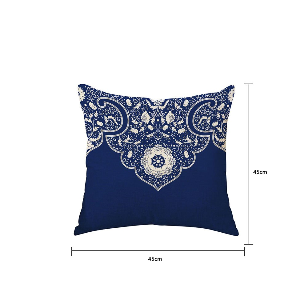lino BIGBOBA Lino Azul y Blanco Porcelana Patr/ón Serie sof/á funda de coj/ín suave decorativo Sof/á almohada funda de coj/ín 45/* 45/cm Style A 45*45CM