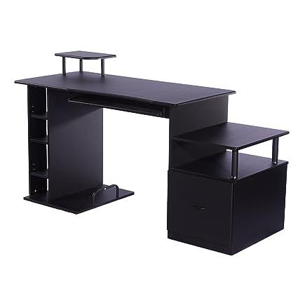 Escritorio Oficina Madera.Homcom Mesa De Ordenador Escritorio Para Oficina Color Negro