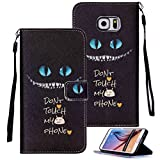 Galaxy S6 Edge Plus Case, S6 Edge+ Case, Etubby [Wallet Stand] PU Leather Wallet Flip Protective Case with Card Slots and Wrist Strap for Samsung Galaxy S6 Edge Plus / S6 Edge+ (2015) - Cheshire-Cat