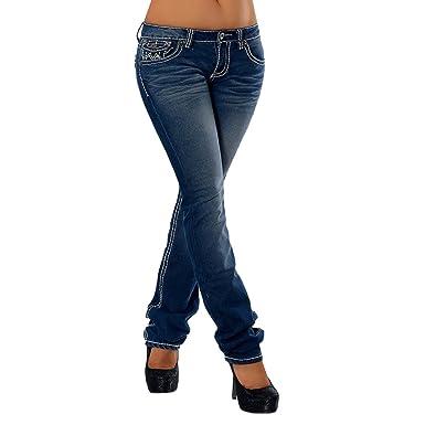 H922 – Pantalones vaqueros para mujer, corte por la cadera, pierna recta, costura gruesa