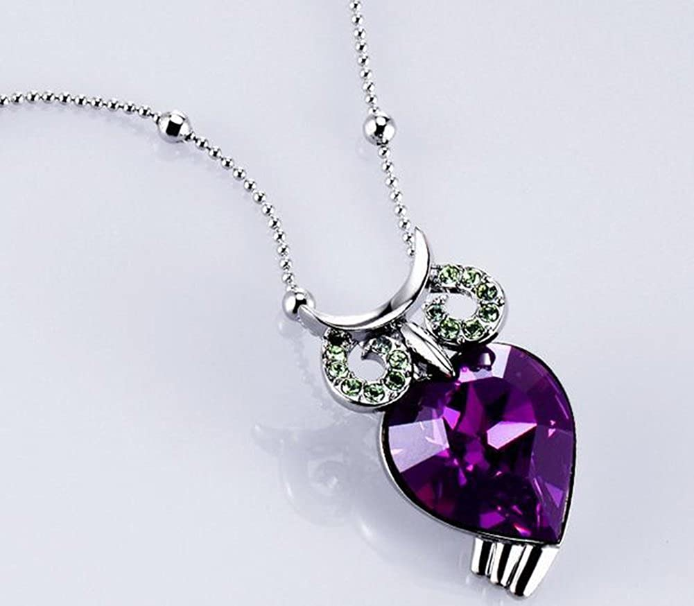 Western jewelry crystals necklace white gold pendant Richy-Glory