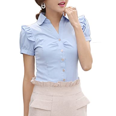 WLLW Womens Short Sleeve Fashion Shirt Formal Collared Fitted ...