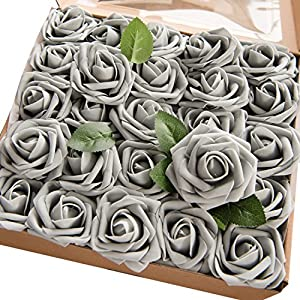 Ling's moment Artificial Flowers 50pcs Real Looking Silver Grey Fake Roses w/Stem for DIY Wedding Bouquets Centerpieces Bridal Shower Party Home Decorations 26