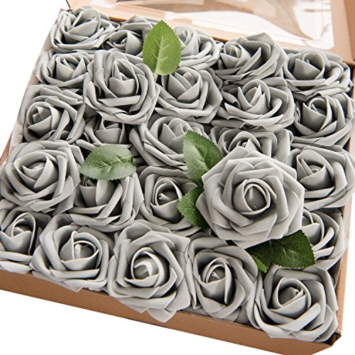 ling's moment Grey Artificial Roses 50pcs Real Looking Fake Roses w/Stem for DIY Wedding Bouquets Centerpieces Arrangements Party Baby Shower Home (Grey Centerpiece)