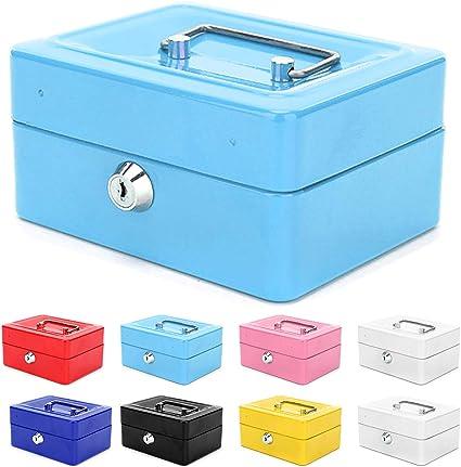 Caja de dinero con bandeja de dinero, pequeña caja de metal con llave joyería caja organizadora de almacenamiento de seguridad en efectivo (azul): Amazon.es: Hogar