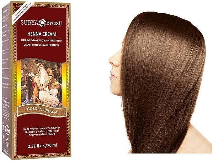 Surya Henna - Crema de color marrón dorado, color crema