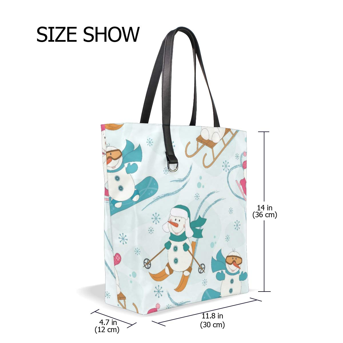 SHANGLONG Classic Simple Underwater World Marine Fish Blue Leather Tote Bag Casual Bag Purse Handbag for Women Girls