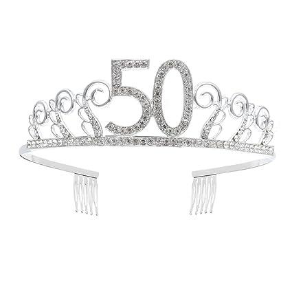 Frcolor Corona Cumpleaños 50 Años Diadema Cumpleaños Mujer Tiara Cristal con Peines (Plata)