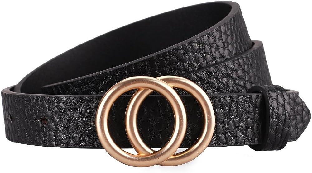 Women/'s Leather Belt Skinny Waist Belts Full Grain Small Black Medium