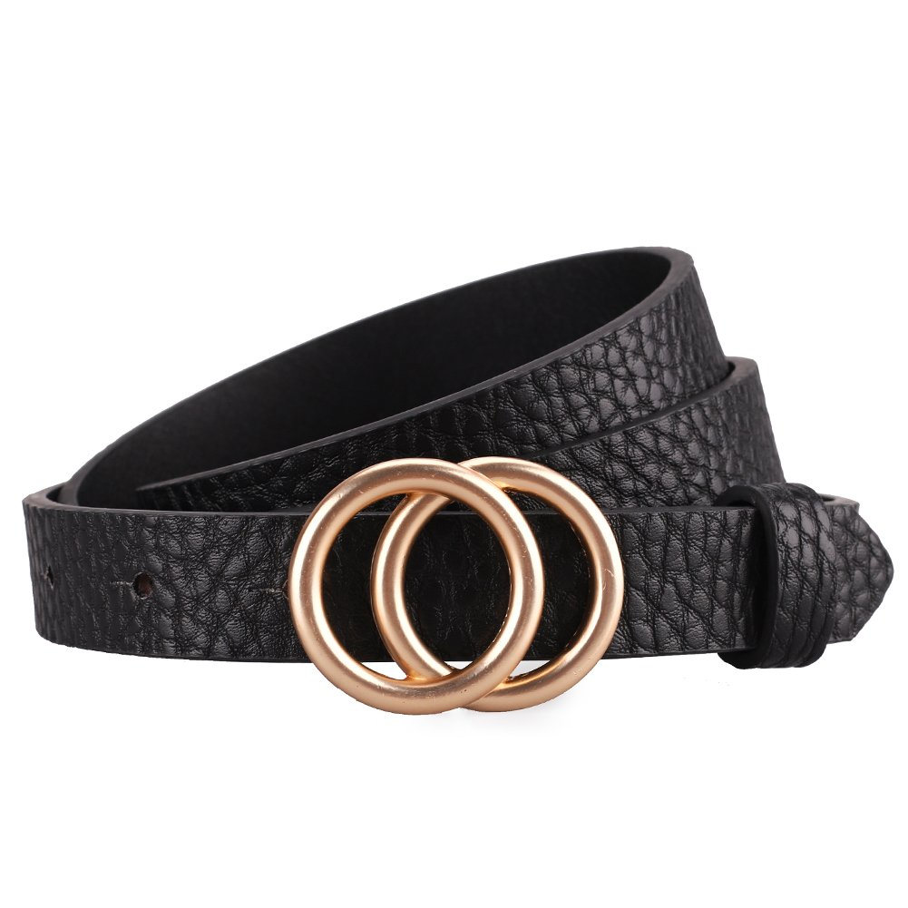 Earnda Women's Skinny Belt Fashion Round Buckle Leather Belts for Women Pants Dress 5/6'' Wide Black M by Earnda (Image #1)