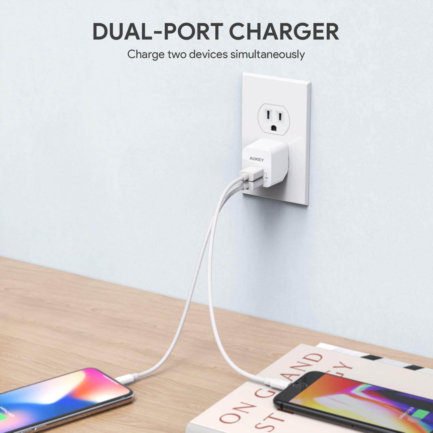 AUKEY USB Wall Charger, Ultra Compact Dual Port 2.4A Output & Foldable Plug, Compatible iPhone Xs/XS Max/XR, iPad Pro/Air 2 / Mini 4, Samsung, and More by AUKEY (Image #5)