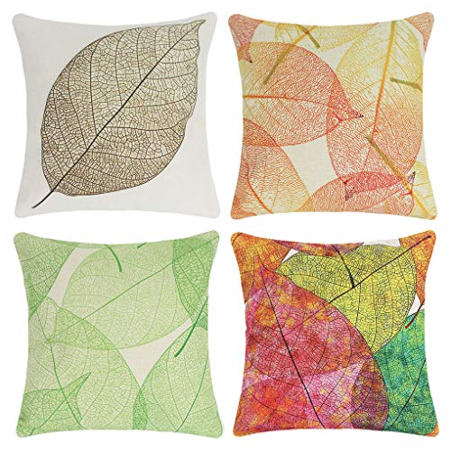 Jinbeile Set of 4 Throw Pillow Covers Cotton Linen Leaf Vein Decorative Pillowcase Square Outdoor Cushion Cover Sofa Home Pillow Cover 18x18 Inch