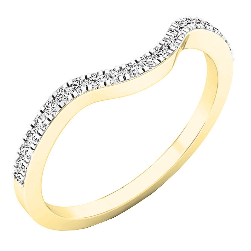 0.15 Carat (ctw) 14K Yellow Gold Round White Diamond Anniversary Ring Wedding Guard Band (Size 5.5)