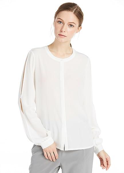 Lilysilk Blusa de Seda Cuello Redondo-Camisa 100% Seda Natural de 18MM-Diseño