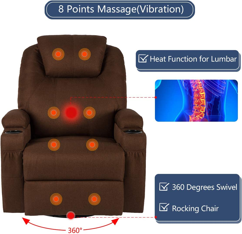 Esright Fabric Massage Recliner Chair