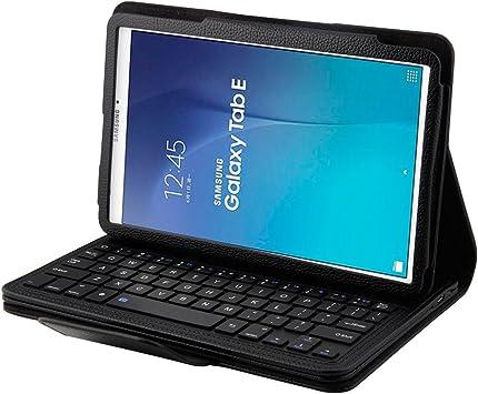 SCIMIN Samsung Galaxy Tab E 9.6 Folio Funda, Galaxy Tab E 9.6, funda de piel inteligente con teclado Bluetooth extraíble para Samsung Galaxy Tab E 9.6 ...