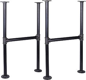 MUZIK 30 Inch Industrial Table Leg Set, Grey Steel Metal Pipes Vintage Furniture