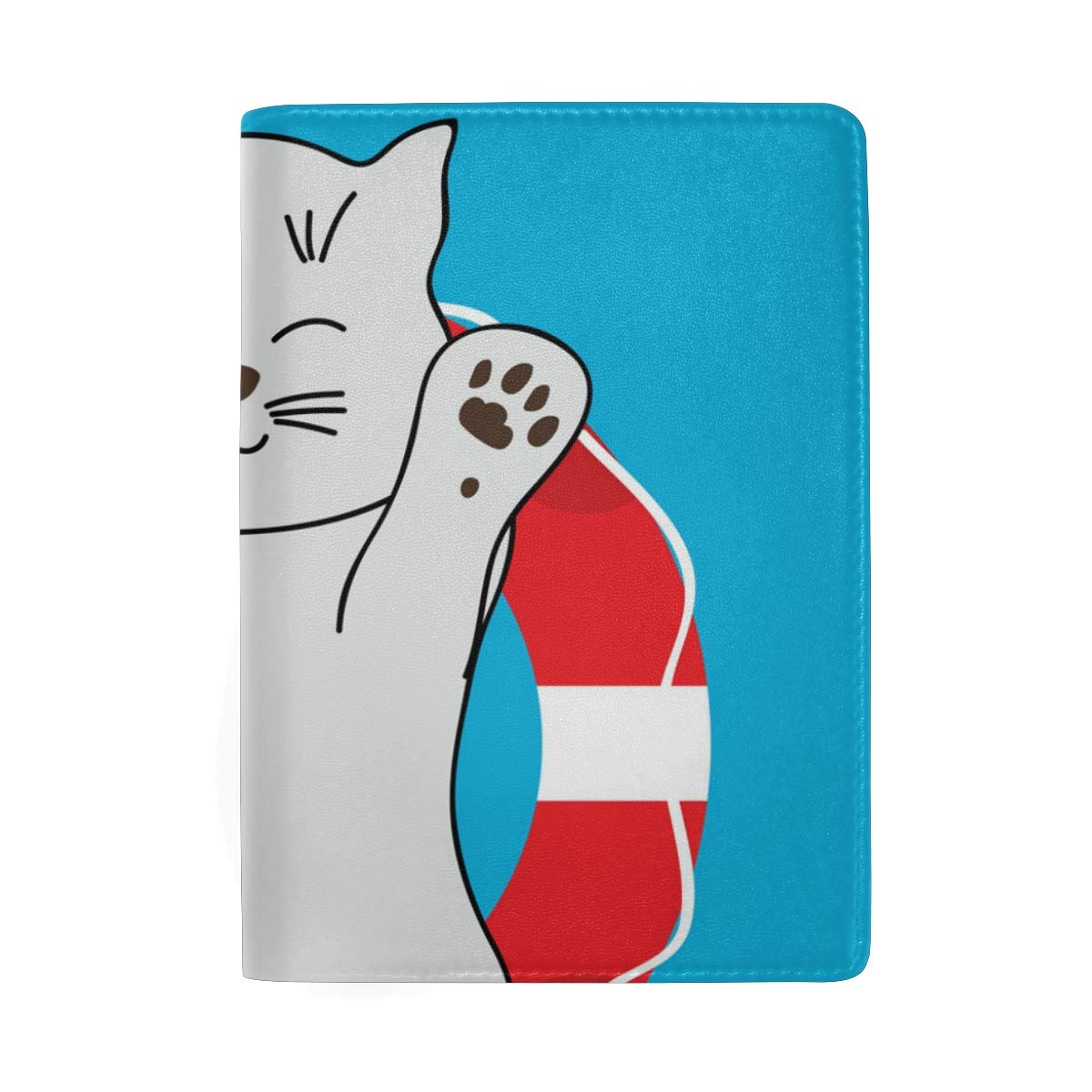 Cute Cat Buoy On The Pool Leather Passport Holder Cover Case Protector for Men Women Travel with Slots