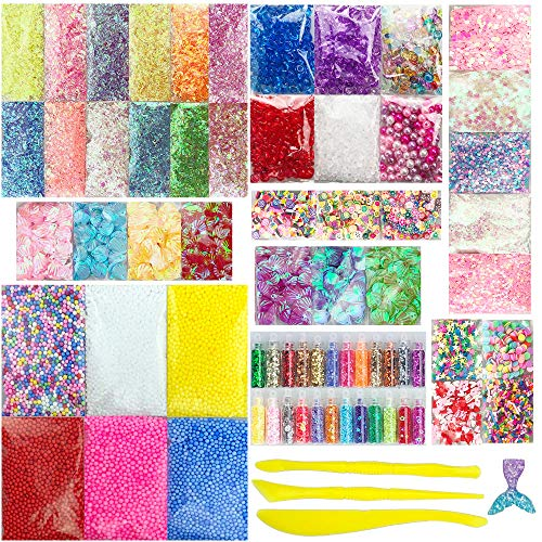 Miukada 72 Packs Slime Supplies Kit.Slime Beads Charms for Slime DIY, Girl Slime Party Decoration, Homemade Slime. Includes Foam Ball,Fishbowl Beads,Glitter,Fruit Slices,Pearls, Sugar Paper,Shell ()