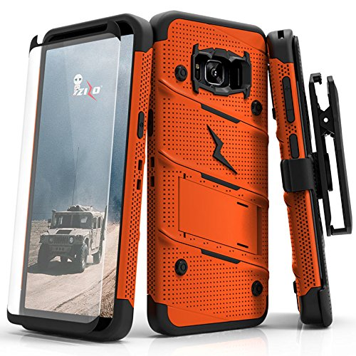 ZIZO Bolt Series Samsung Galaxy S8 Plus Case Military Grade Drop Tested with Tempered Glass Screen Protector Holster Orange Black