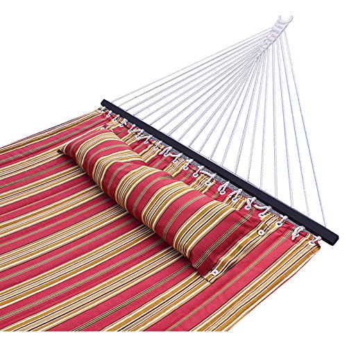 SUPER DEAL Upgraded Quilted 2 Person Double Hammock 480lbs w/Detachable Pillow, Spreader Bar, Red Stripe