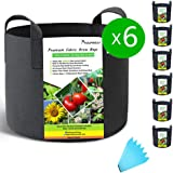 SYOURSELF 6 Pack 7 Galllon Grow Bags, Aeration Fabric Pots with Handles-400GSM Non-Woven Durable Thickened Plant Containers for Nursery Garden Home Vegetable, Fruit, Tree+6 Waterproof Labels(Black), Fabric, 6 Pack-black, 3 Gallon