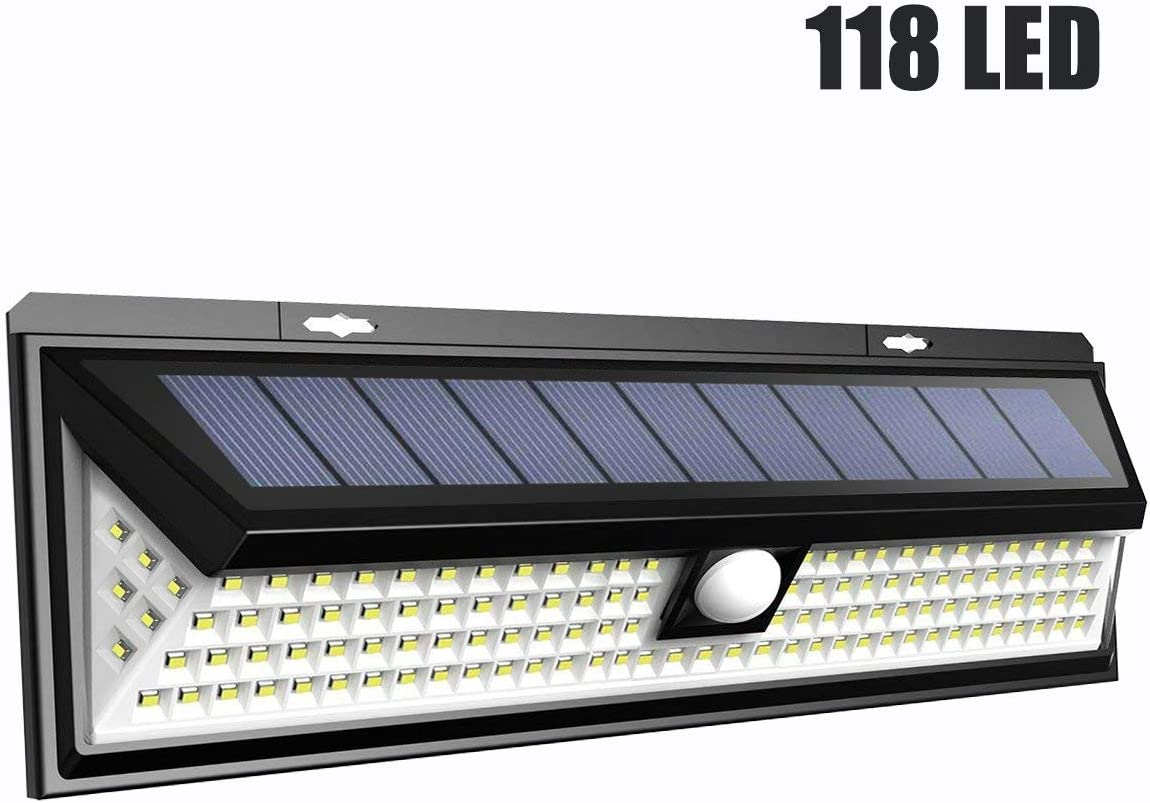 118 LED Solar Lights Outdoor, Facaimo 1960 LM 4400mAh Motion Sensor Security Night Light – 3 Modes IP65 Waterproof Security Wireless Wall Light