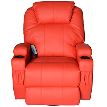 Merveilleux HomCom Faux Leather Heated Massage Recliner Chair With Remote   Bright Red