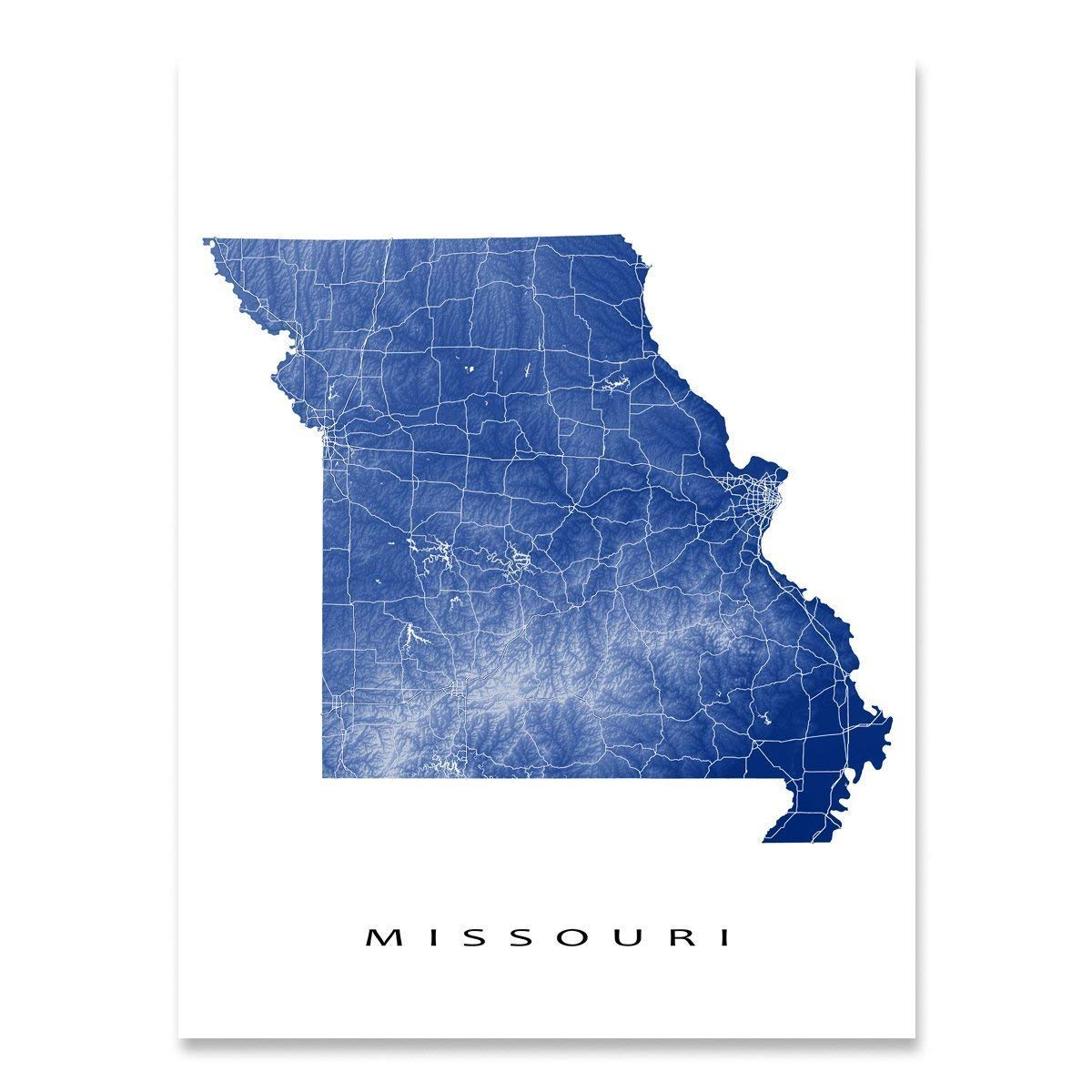 Amazon.com: Missouri Map Art Print, MO State Outline, USA ...