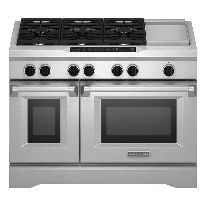 amazon com kitchenaid kdrs483vss commercial style dual fuel range