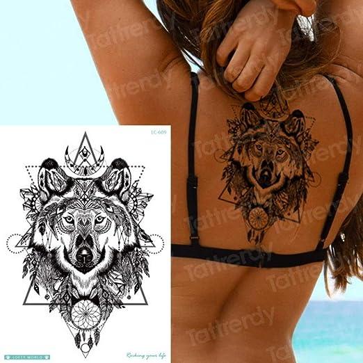 tzxdbh 3Pcs-Wolf Tattoo Sticker Impermeable Sra. Muslo Animal ...