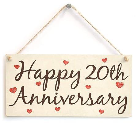 Hunnry Happy 20th Anniversary Letrero de Placa de Madera ...