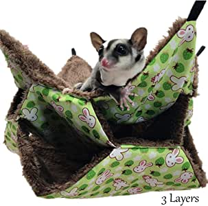 Yu-Xiang 3 Layers Hamster Hanging Hammock Labyrinth Rabbit Design Warm Long Fleece Guinea Pig Bed Hedgehogs Nest for Small Animal Winter Hotumn Spring (L, Green)